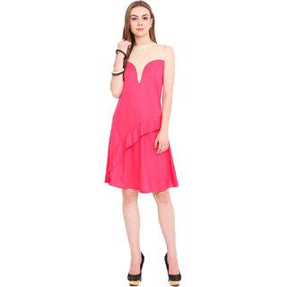 Blink Pink Plain A Line Dress For Women