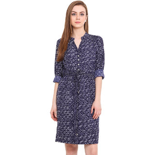 Blink Purple Plain A Line Dress For Women