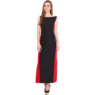 Blink Black Plain Gown Dress For Women