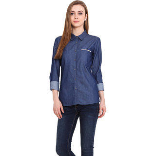 Blink Women Blue Cotton  Shirt