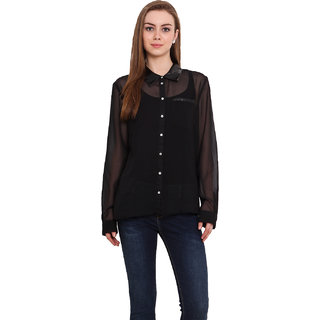 Blink Women Black Georgette  Shirt