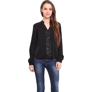 Ama Bella Women Black Polyester  Shirt