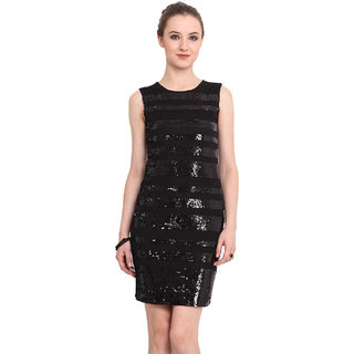 Blue Sequin Blue Plain A Line Dress For Women