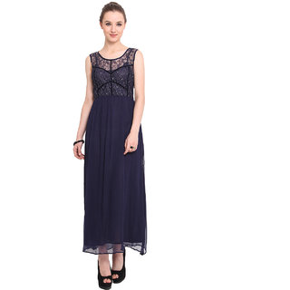 Blue Sequin Blue Plain Gown Dress For Women