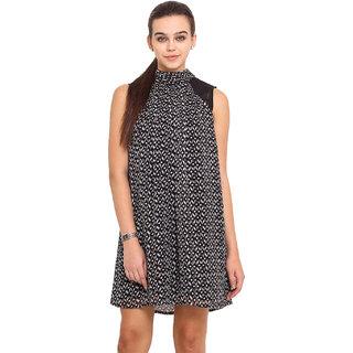 Pink Lemon Black Plain A Line Dress For Women