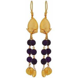Maayra Suave Gold Blue Designer Party Dangler Earrings