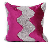 LEHAR - Wave Design Rani Pink Velvet Cushion Cover - Set Of 2