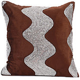 LEHAR - Wave Design Brown Velvet Cushion Cover - Set Of 2