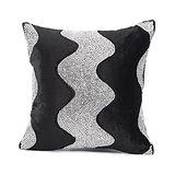 LEHAR - Wave Design Black Velvet Cushion Cover - Set Of 2