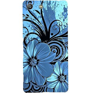 Casotec Cute Floral Blue Design Hard Back Case Cover For Sony Xperia M5 Dual gz8054-12188
