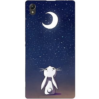 Casotec Moon Bunny Design Hard Back Case Cover For Sony Xperia Z1 L39H gz8056-12014