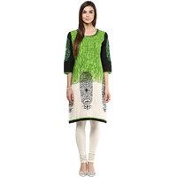 Prakhya Printed Womens Long straight cotton kurta SW752GREEN