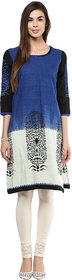 Prakhya Printed Womens Long straight cotton kurta SW752BLUE