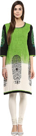 Prakhya Printed Womens Long straight cotton kurta SW752GREEN