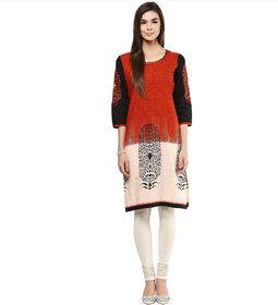 Prakhya Printed Womens Long straight cotton kurta SW752RED