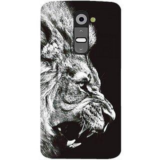 Casotec Angry Lion Design Hard Back Case Cover For Lg G2 gz8113-11187