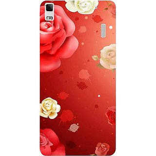 Casotec Red Rose Design Hard Back Case Cover For Lenovo A7000 gz8066-11186