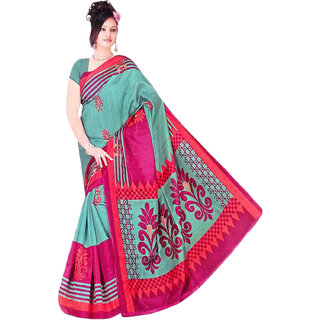 RoopSamgamz Stylish Printed Green And Maroon Color Cotton Silk Fabric Saree