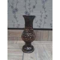 Onlineshoppee Wooden Antique Flower Vase With Hand Carved Design (Option 1)