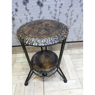 Onlineshoppee Wooden & Wrought Iron Chair (Option 4)