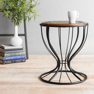 Onlineshoppee Wooden & Wrought Iron Chair (Option 2)