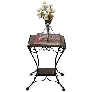 Onlineshoppee Wooden & Wrought Iron Chair (Option 1)