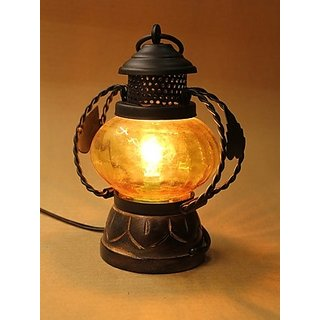 Onlineshoppee Wooden & Iron Hand Carved Colored Electric Lantern (Option 9)