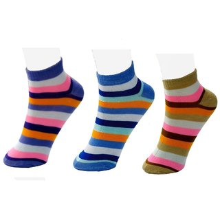 Neska Moda 3 Pair Women Striped Free Size Cotton Ankle Length Socks Purple Blue Brown Orange Color