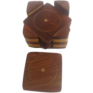 Onlineshoppee Wooden Tea Coaster Set (Option 1)