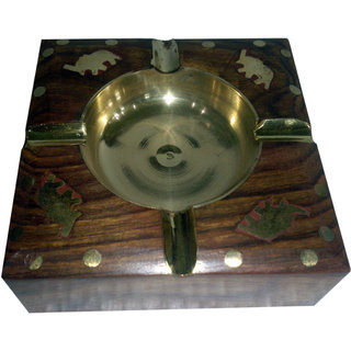 Onlineshoppee Wooden Brass Inlay Ashtray