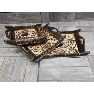 Onlineshoppee Wooden Serving Tray Set Hand Carved Printed Elephant Design