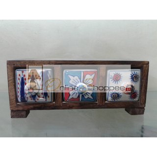 Onlineshoppee Wooden Box With 3 Ceramic Drawers (Option 1)