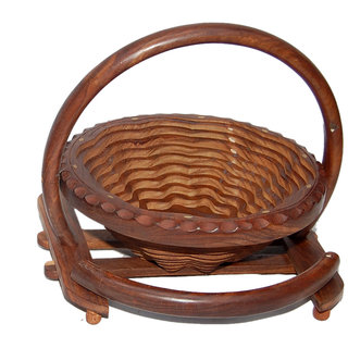 Onlineshoppee Wooden Fruit Basket & Free 3 Tea Spoons (Option 2)