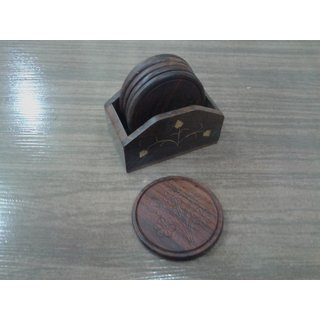 Onlineshoppee Wooden Tea Coaster Set (Option 3)