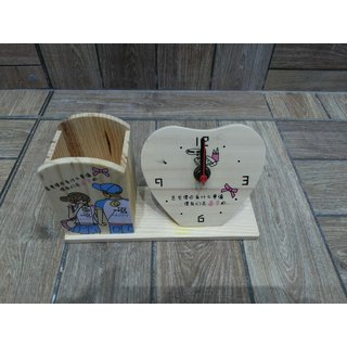Onlineshoppee Wooden Pen Holder & Clock
