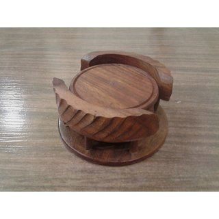 Onlineshoppee Wooden Tea Coaster Set (Option 2)