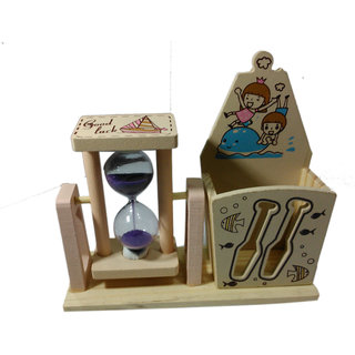 Onlineshoppee Wooden Small Sand Timer & Pen Holder