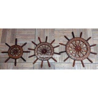 Onlineshoppee Wooden Wall Decor Wheel Set