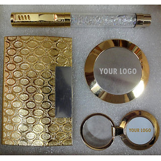 All Gold Plated  Crystal Pen Card Holder Paper Weight - Corporate Set - IV