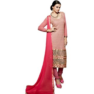 BanoRani Pink Color Chiffon Embroidery UnStitched Dress Material (Chudidar)