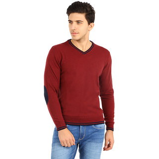 8d95618e326f1 Flying Machine Mens Full Sleeve V-Neck Red Sweatshirt With Navy Elbow Patch  (FMSW4239)