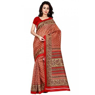 Aaina Red  Beige Bhagalpuri Silk Printed Saree (FL-11111)
