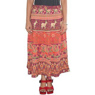 Pezzava Womens Cotton Wraparound Mid-Calf Skirt (SKT-WCC-A0072)