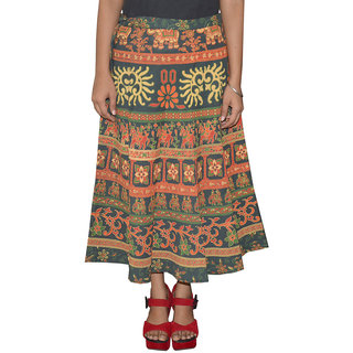 Pezzava Womens Cotton Wraparound Mid-Calf Skirt (SKT-WCC-A0076)