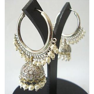 Antique Ethnic Traditional Jhumki With Pearl Studded Pretty Dangler