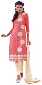 Pink And Cream Chanderi Cotton Straigh Cut Suit