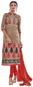 Beige And Red Chanderi Cotton Straigh Cut Suit