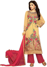 Naksh  Creation Womens Beige Faux Georgette Unstiched Dress Material