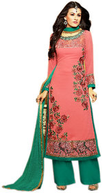 Naksh Creation Womens Peach Faux Georgette Unstitched Dress Material