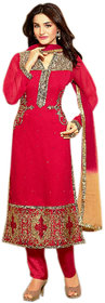 Naksh Creation Womens Red Embroidered Faux Georgette Unstitched Dress Material